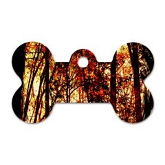 Forest Trees Abstract Dog Tag Bone (One Side)
