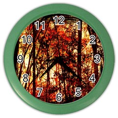 Forest Trees Abstract Color Wall Clocks