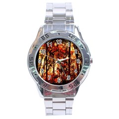 Forest Trees Abstract Stainless Steel Analogue Watch