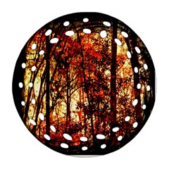 Forest Trees Abstract Round Filigree Ornament (Two Sides)