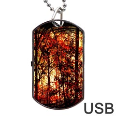 Forest Trees Abstract Dog Tag USB Flash (Two Sides)
