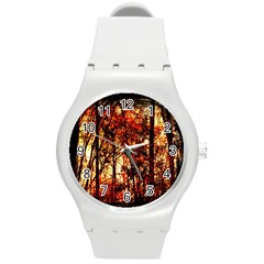Forest Trees Abstract Round Plastic Sport Watch (m)
