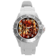 Forest Trees Abstract Round Plastic Sport Watch (l)
