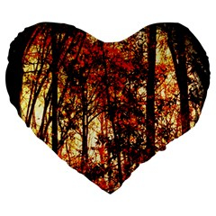 Forest Trees Abstract Large 19  Premium Heart Shape Cushions