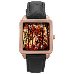 Forest Trees Abstract Rose Gold Leather Watch