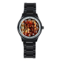 Forest Trees Abstract Stainless Steel Round Watch