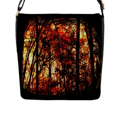 Forest Trees Abstract Flap Messenger Bag (L)