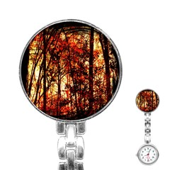 Forest Trees Abstract Stainless Steel Nurses Watch