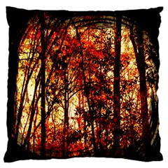 Forest Trees Abstract Standard Flano Cushion Case (One Side)