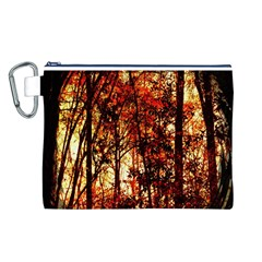 Forest Trees Abstract Canvas Cosmetic Bag (l)