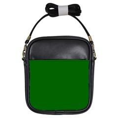 Dark Plain Green Girls Sling Bags