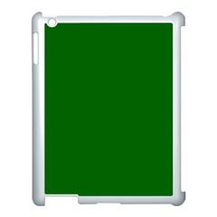 Dark Plain Green Apple iPad 3/4 Case (White)
