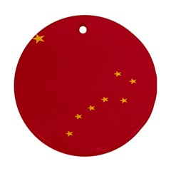 Alaska Star Red Yellow Round Ornament (Two Sides)