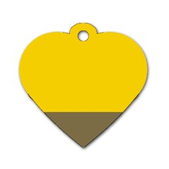 Trolley Yellow Brown Tropical Dog Tag Heart (Two Sides)