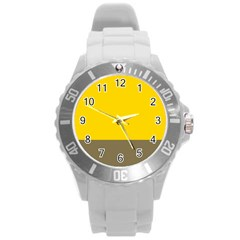 Trolley Yellow Brown Tropical Round Plastic Sport Watch (L)