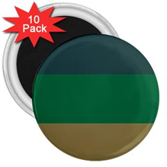 Blue Green Brown 3  Magnets (10 pack)