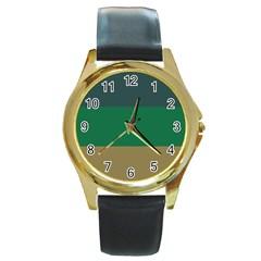 Blue Green Brown Round Gold Metal Watch