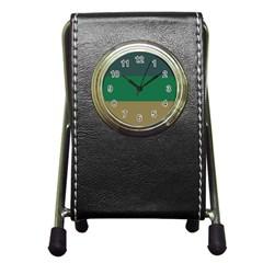 Blue Green Brown Pen Holder Desk Clocks