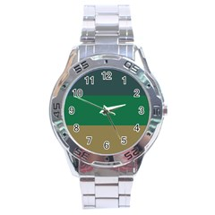 Blue Green Brown Stainless Steel Analogue Watch