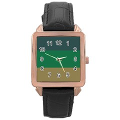 Blue Green Brown Rose Gold Leather Watch