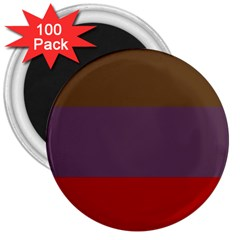 Brown Purple Red 3  Magnets (100 pack)