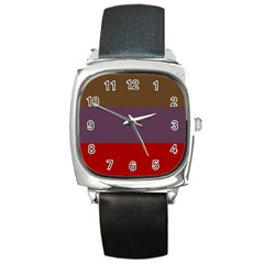 Brown Purple Red Square Metal Watch