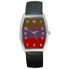 Brown Purple Red Barrel Style Metal Watch