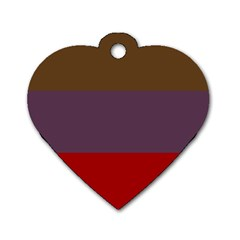 Brown Purple Red Dog Tag Heart (Two Sides)