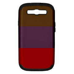 Brown Purple Red Samsung Galaxy S III Hardshell Case (PC+Silicone)