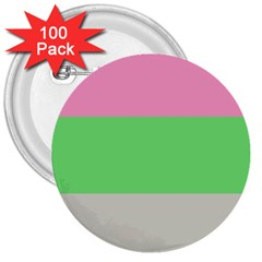Grey Green Pink 3  Buttons (100 pack)
