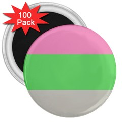 Grey Green Pink 3  Magnets (100 pack)