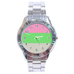 Grey Green Pink Stainless Steel Analogue Watch