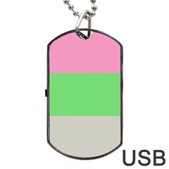 Grey Green Pink Dog Tag USB Flash (One Side)