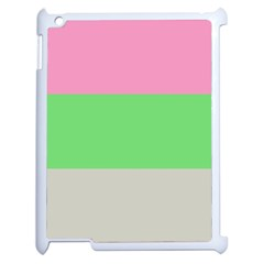 Grey Green Pink Apple iPad 2 Case (White)