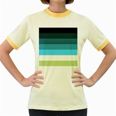 Line Color Black Green Blue White Women s Fitted Ringer T Shirts