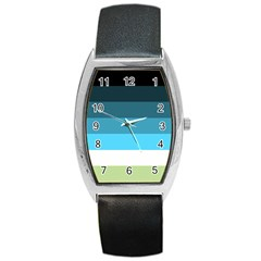 Line Color Black Green Blue White Barrel Style Metal Watch
