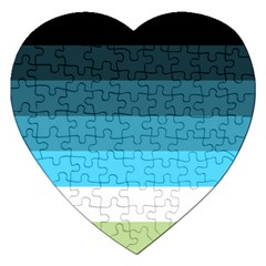 Line Color Black Green Blue White Jigsaw Puzzle (Heart)