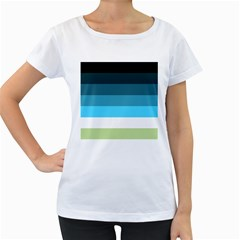 Line Color Black Green Blue White Women s Loose-Fit T-Shirt (White)