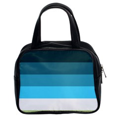 Line Color Black Green Blue White Classic Handbags (2 Sides)