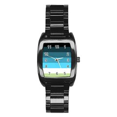 Line Color Black Green Blue White Stainless Steel Barrel Watch