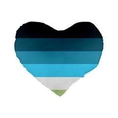 Line Color Black Green Blue White Standard 16  Premium Flano Heart Shape Cushions