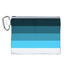 Line Color Black Green Blue White Canvas Cosmetic Bag (L)
