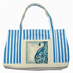 Delicate Tree Leaf Striped Blue Tote Bag
