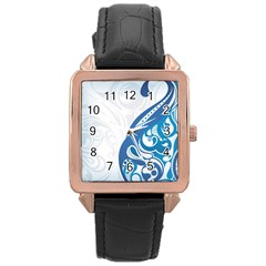 Delicate Tree Leaf Rose Gold Leather Watch