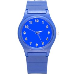 Plain Blue Round Plastic Sport Watch (S)