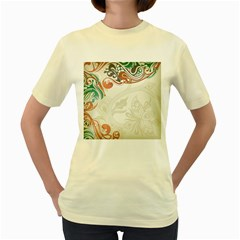 Flower Floral Tree Leaf Women s Yellow T Shirt