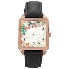 Flower Floral Tree Leaf Rose Gold Leather Watch