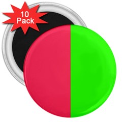 Neon Red Green 3  Magnets (10 pack)