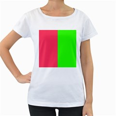 Neon Red Green Women s Loose-Fit T-Shirt (White)