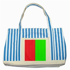 Neon Red Green Striped Blue Tote Bag